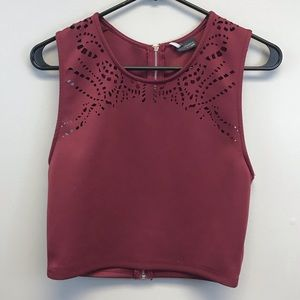 Urban Outfitters | Maroon laser cut crop top